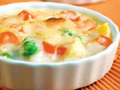 Vegetable Au Gratin is a delicious casserole dish made with vegetables ...